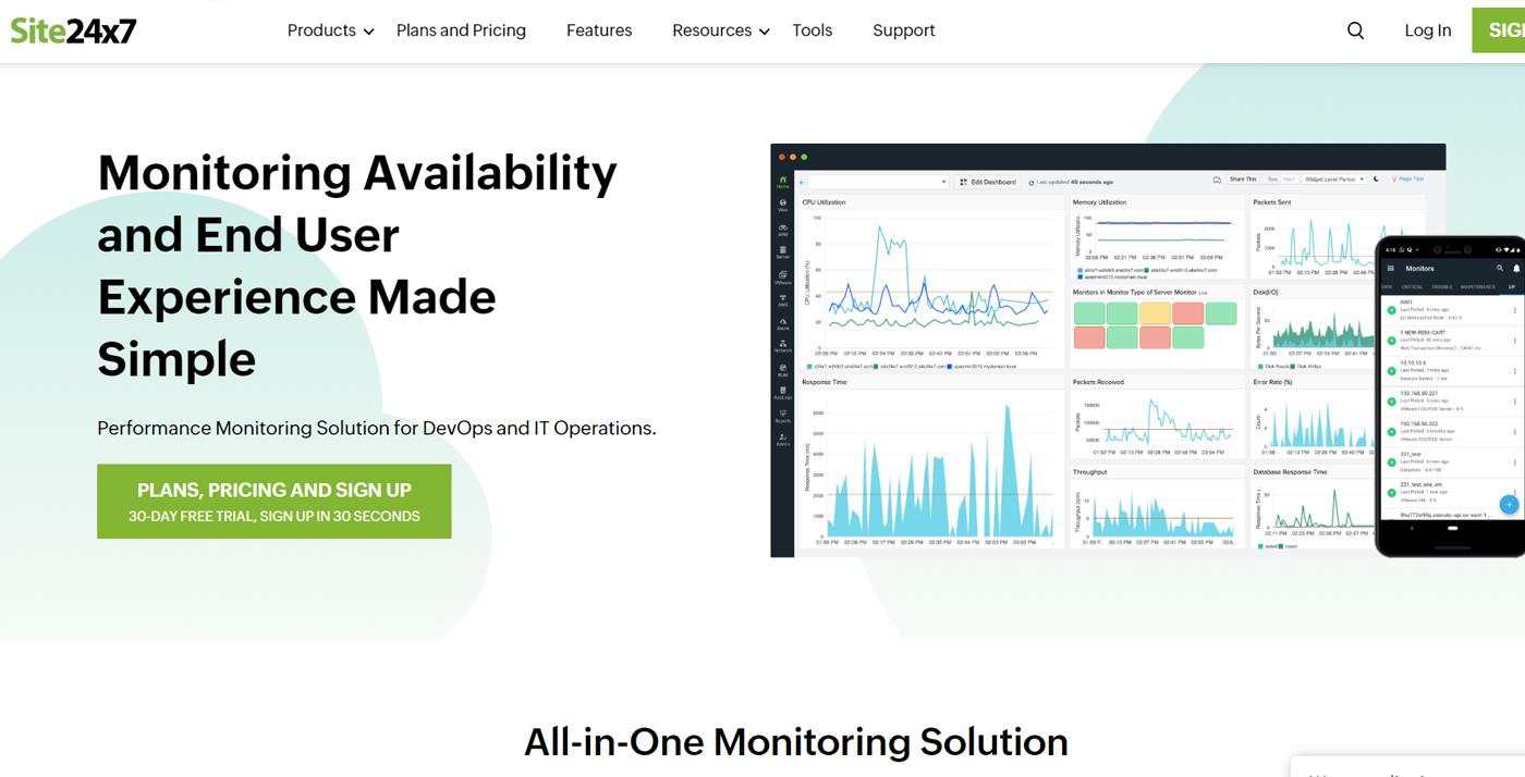 website uptime monitoring Site24 7