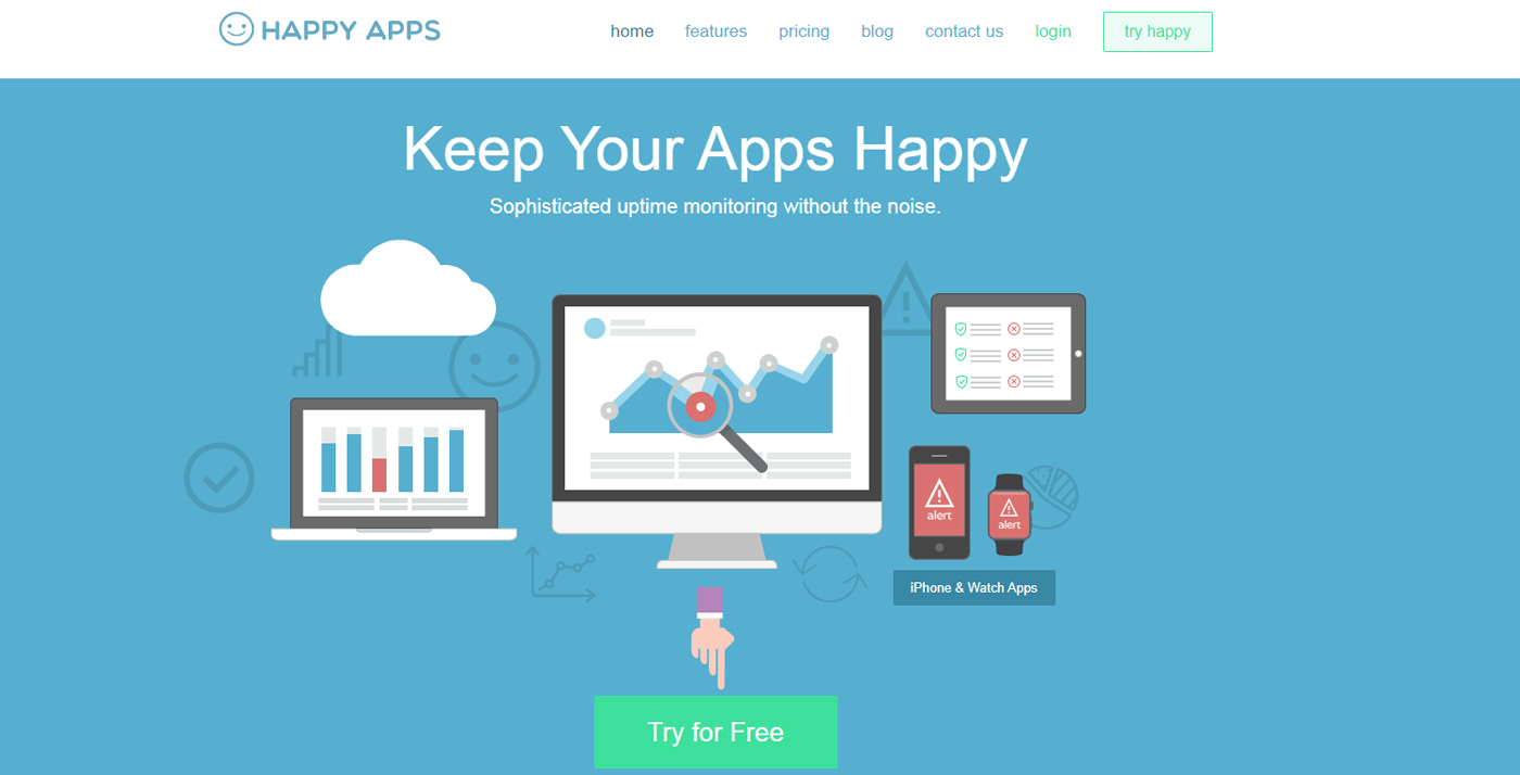 website uptime monitoring happy apps
