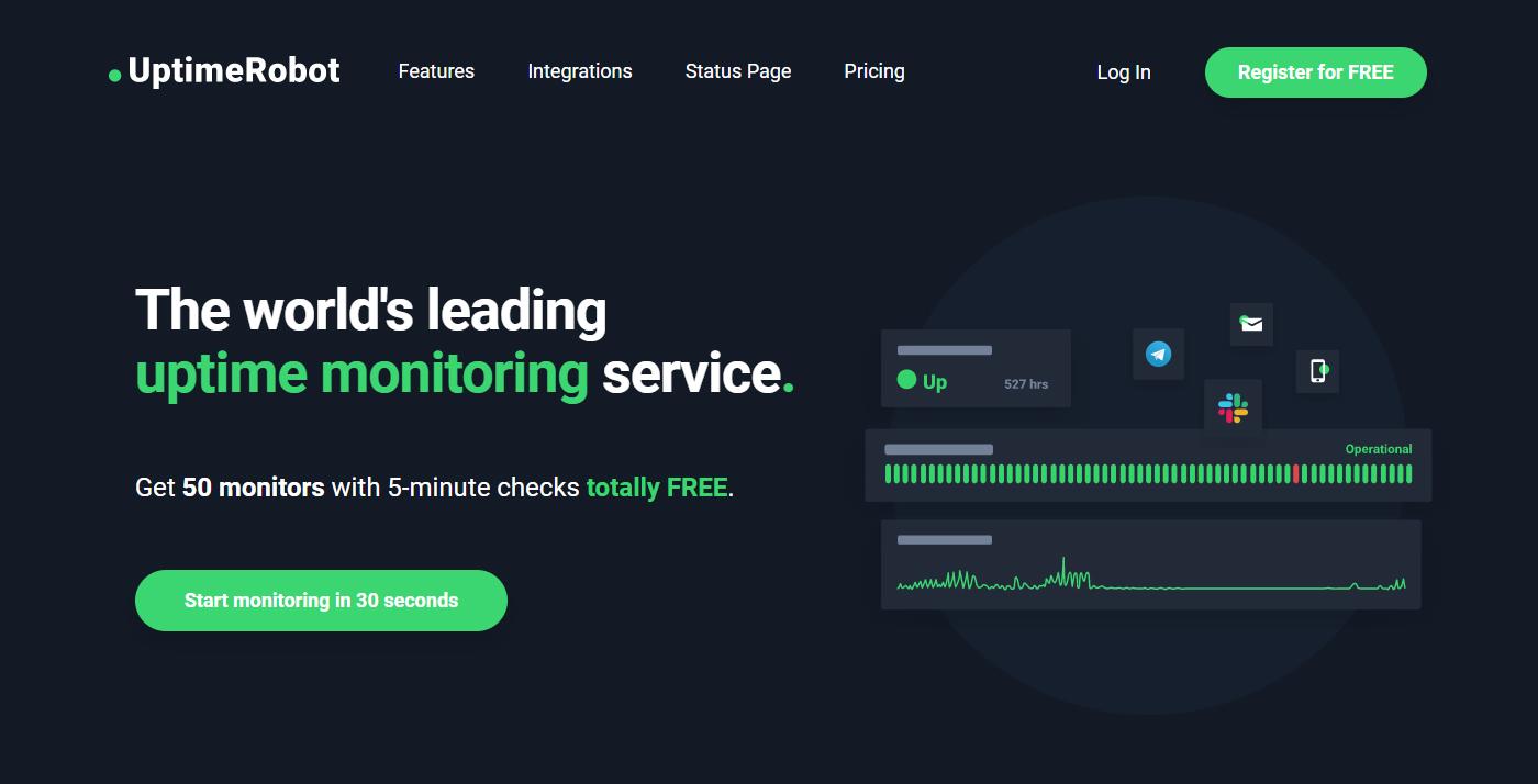 website uptime monitoring uptimerobot