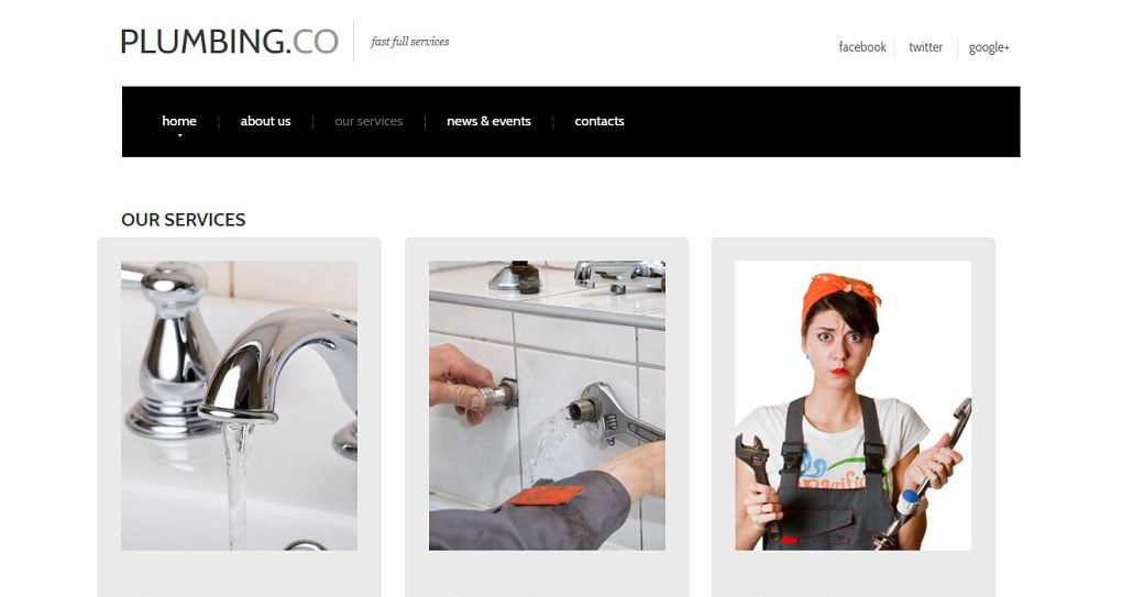 White Website Template for Plumbers