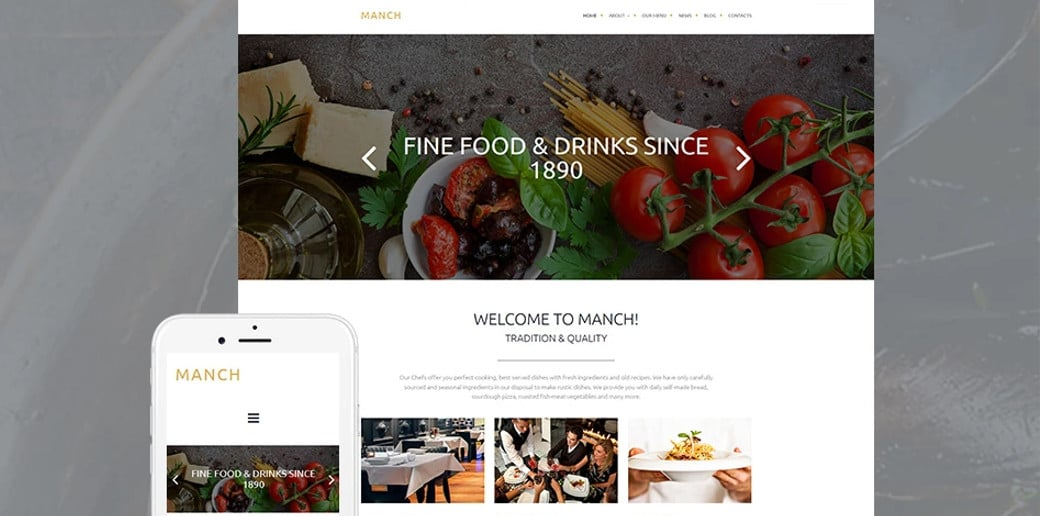White Website Design for Restaurant Business