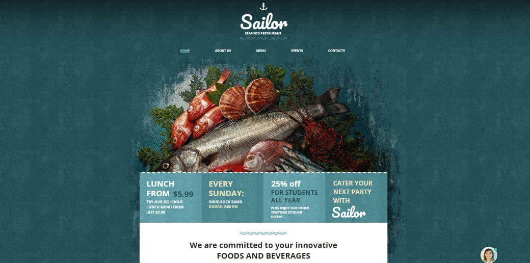 Seafood Restaurant Website Template Designed in Sea Colors