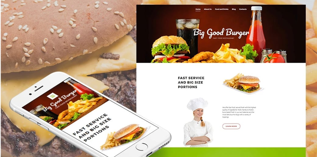 Fast Food Restaurant Responsive Moto CMS 3 Template