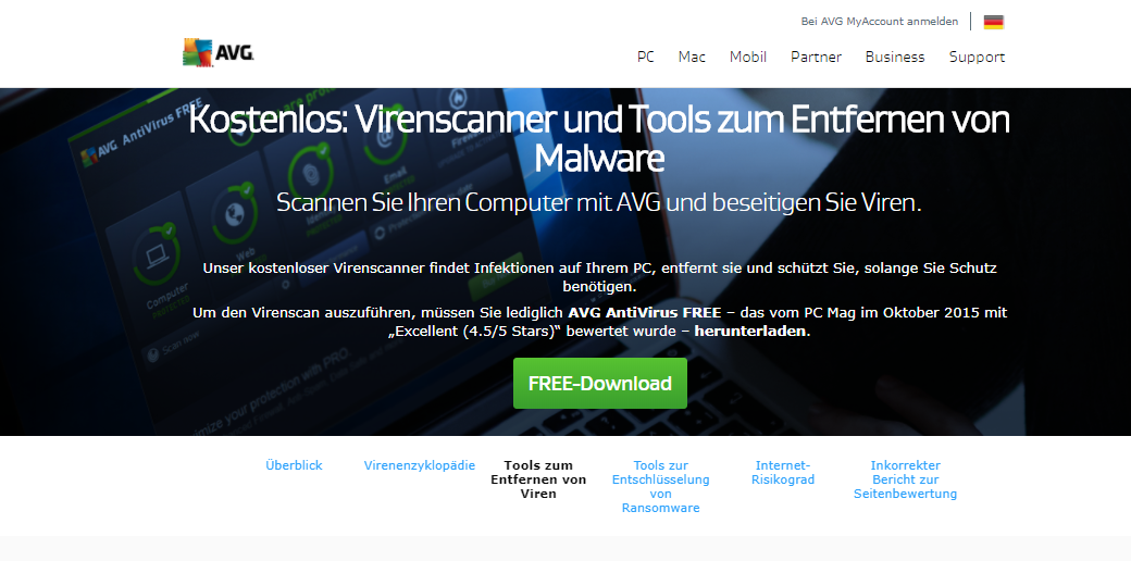 Online Virencheck Tool AVG AntiVirus Free 2018