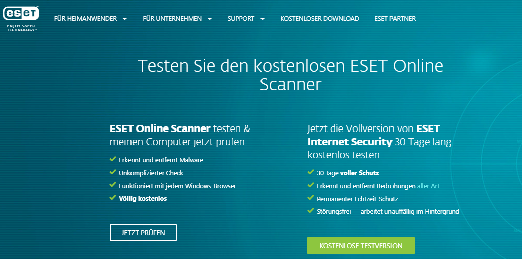 ESET Online Virencheck Tool