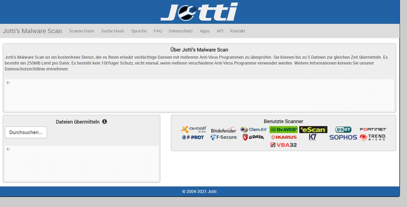 Online Virenscanner Jotti's