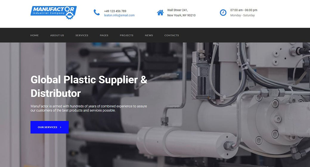 manufacturing website design plastic image