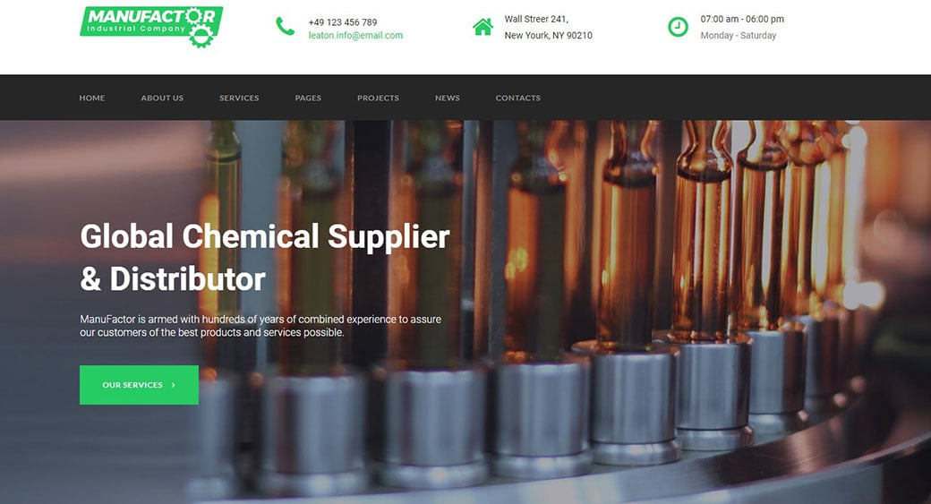 manufacturing website design chemical image
