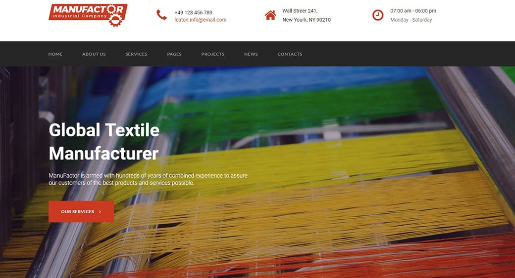 manufacturing website design textile image