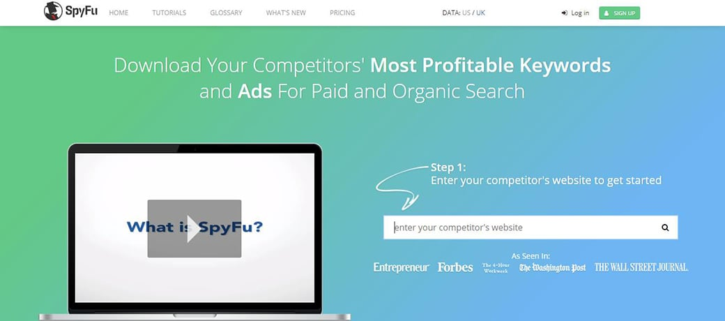 SpyFu competitor research tools image