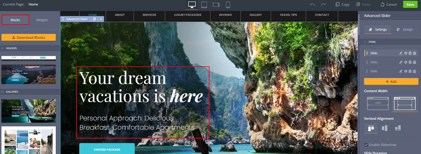 Travel Drag and Drop Landing Page