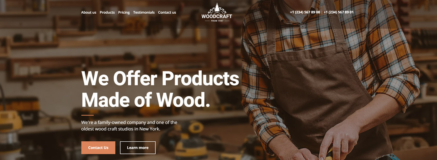 Woodcraft Drag and Drop Landing Page
