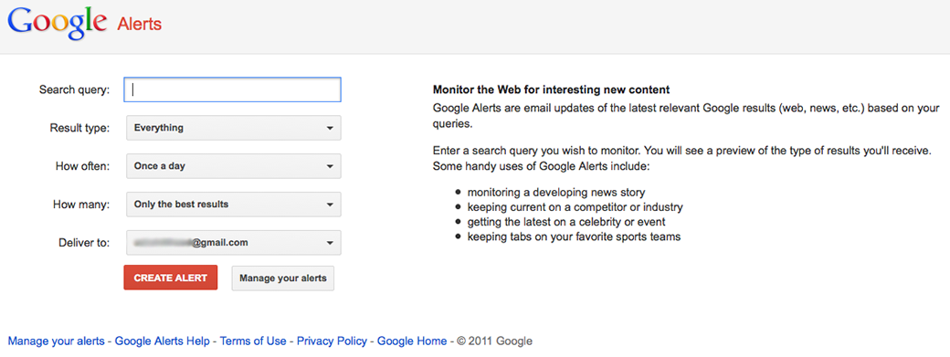 google alerts competitor research tools image