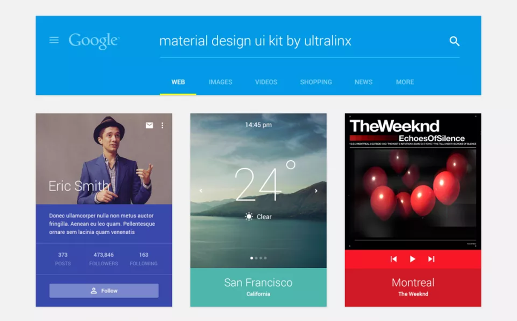 Ultralinx Free Material Design UI Kit 2018