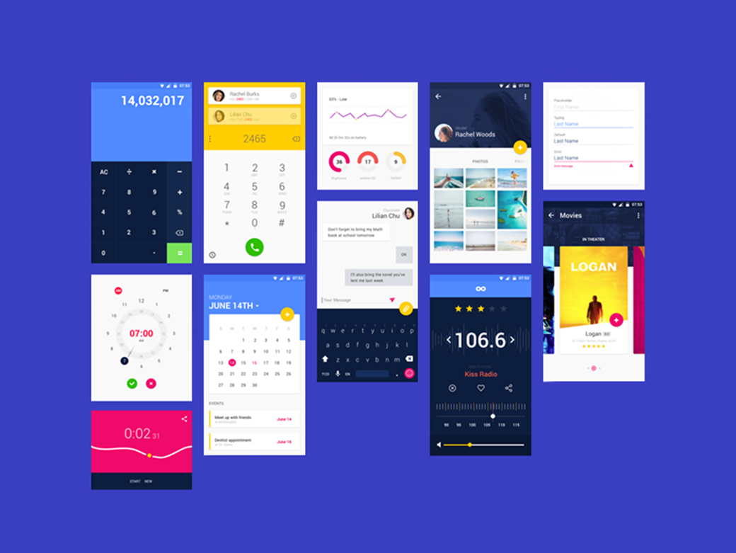 Free Material Design UI Kit 2018 by Emma Drews