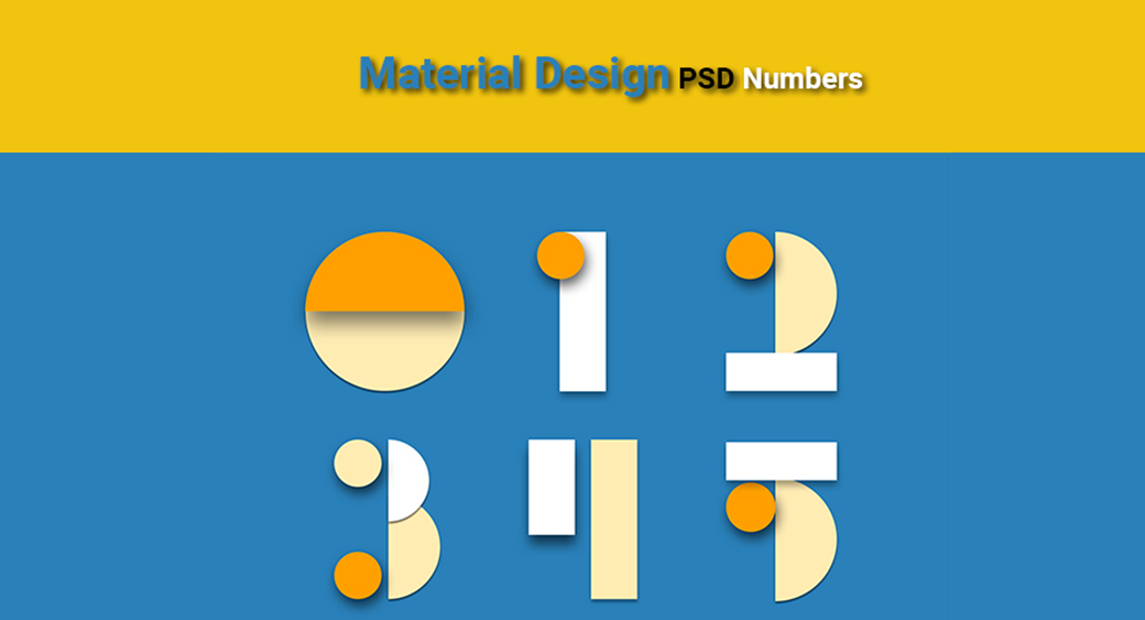Material Design UI Kit with PSD Numbers