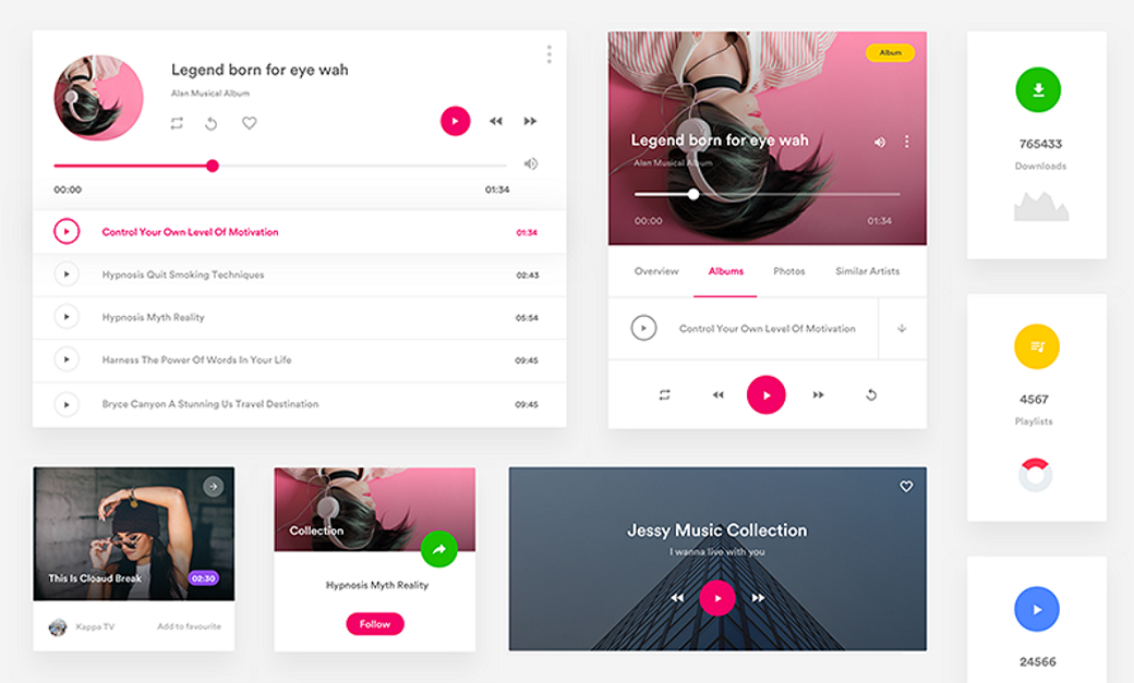 Music App Free Material Design UI Kit 2018