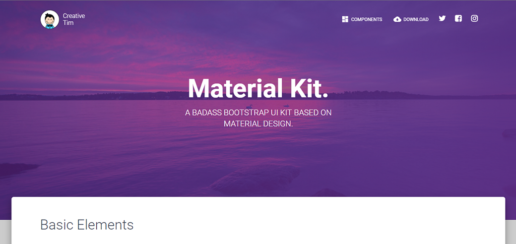 Free Material Design UI Kit 2018 by Creative Tim
