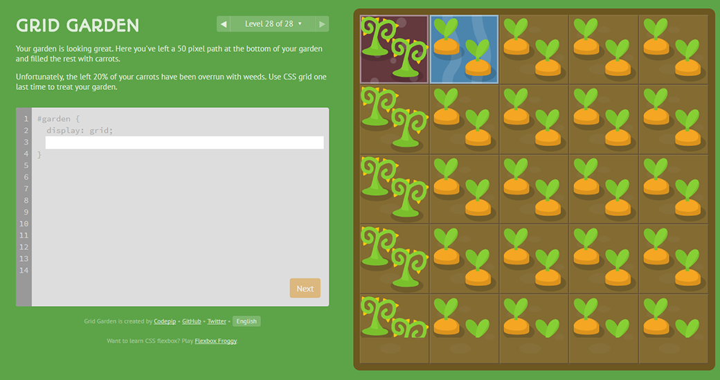 CSS Grid Layout Tutorials And Guides Grid Garden Game image