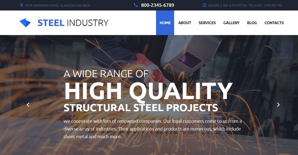 Steel Industry Responsive Website Template