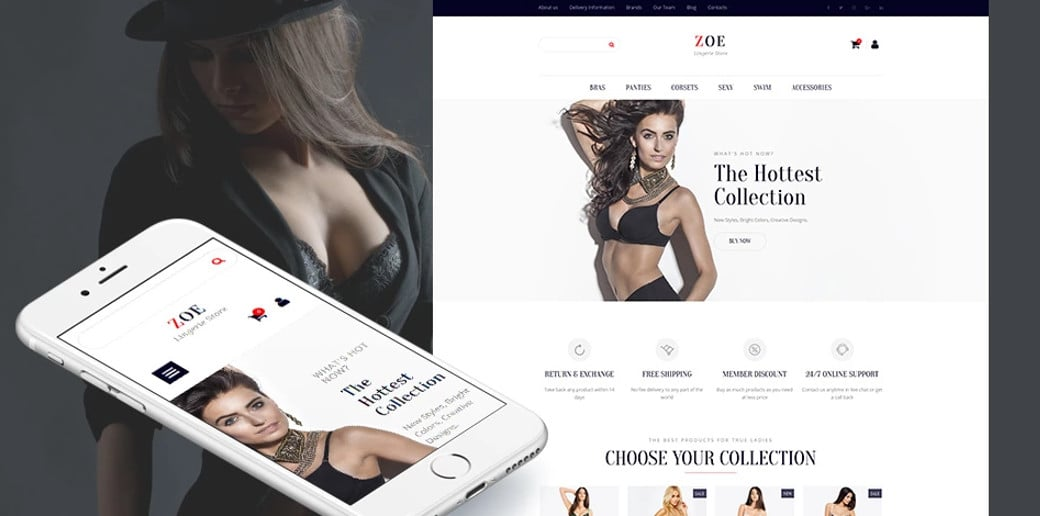 Zoe Fashion MotoCMS Ecommerce Theme