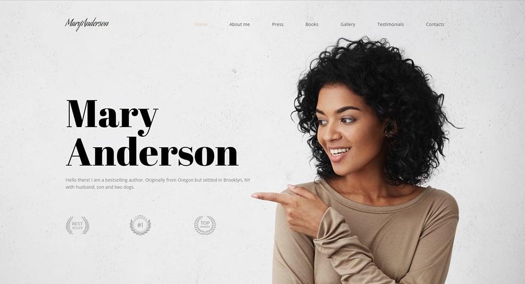 book author feminine website themes