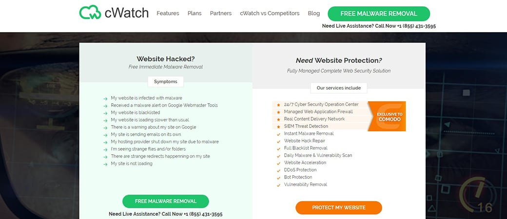 Comodo cWatch website virus scanner