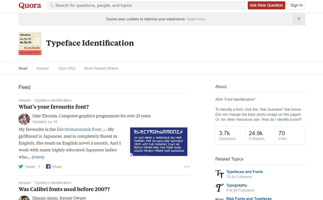 quora online font recognition
