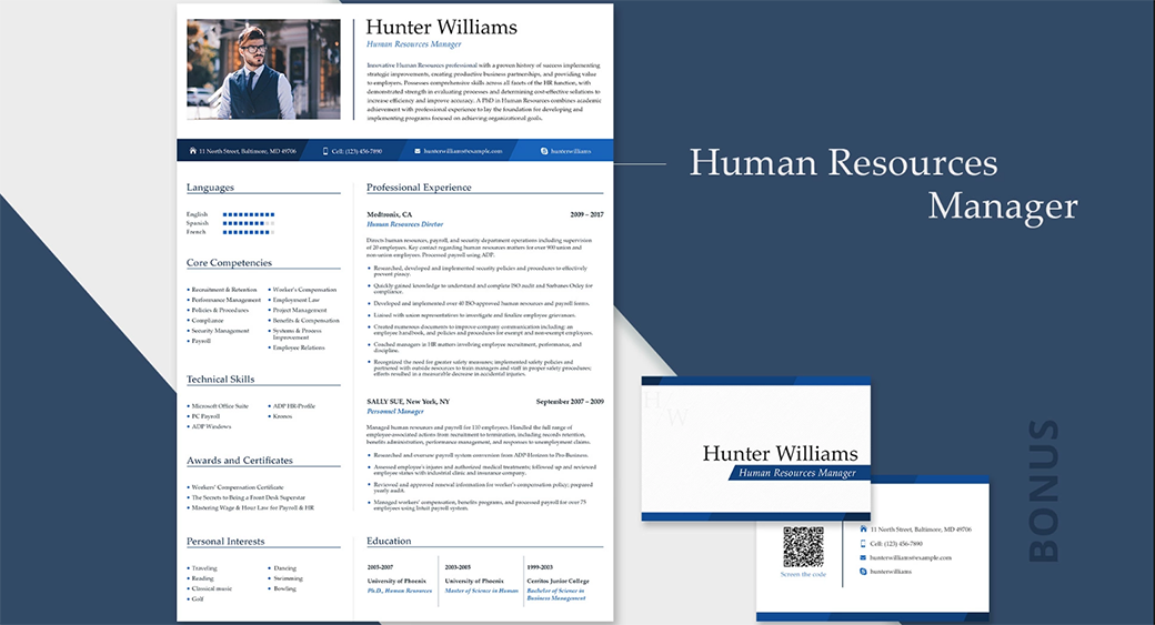 HR resume in word format