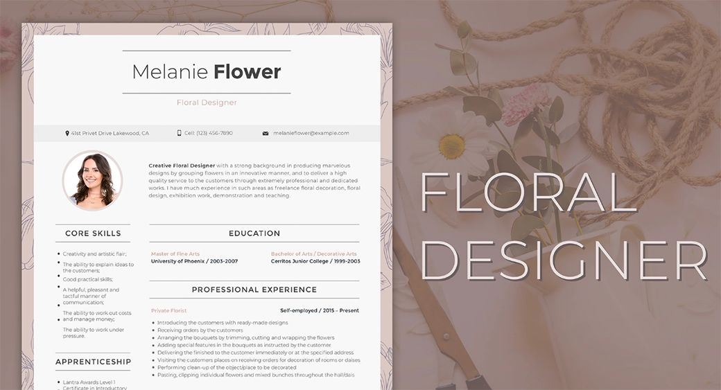how to make a resume for floral designer on word image