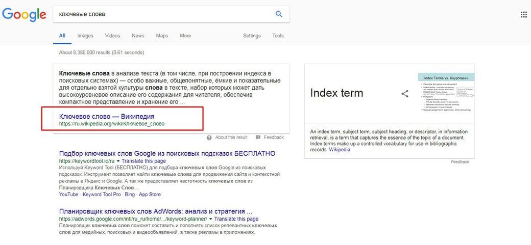 Википедия занимает первое место по запросу ключевые слова