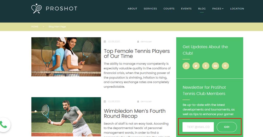 website vorlage tennis club