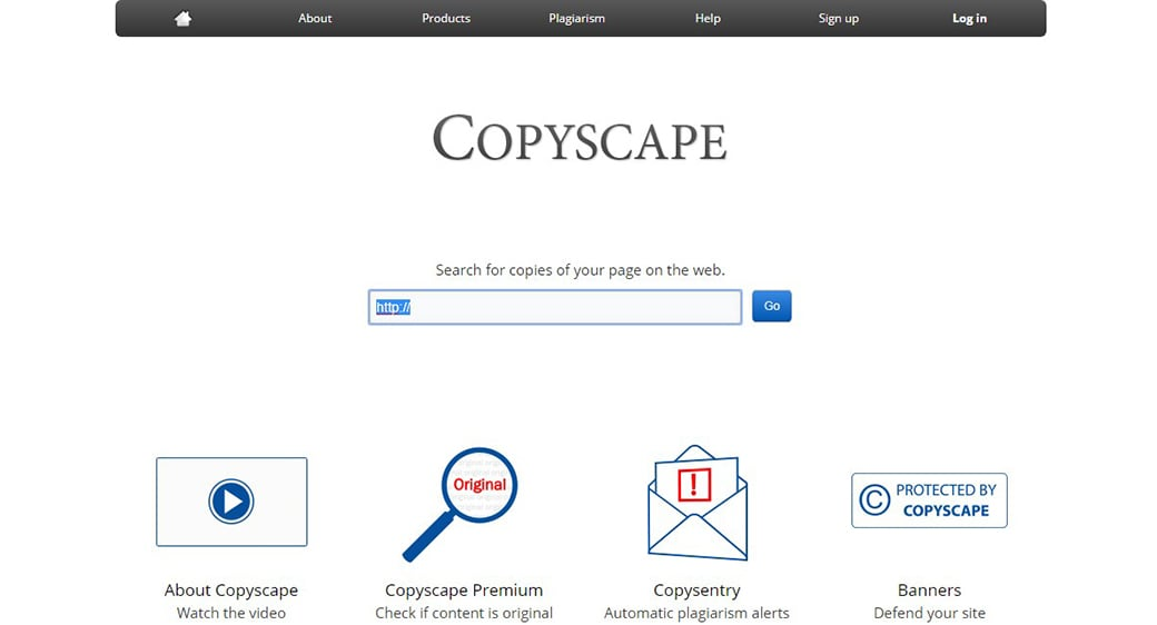 Copyscape free content marketing tool
