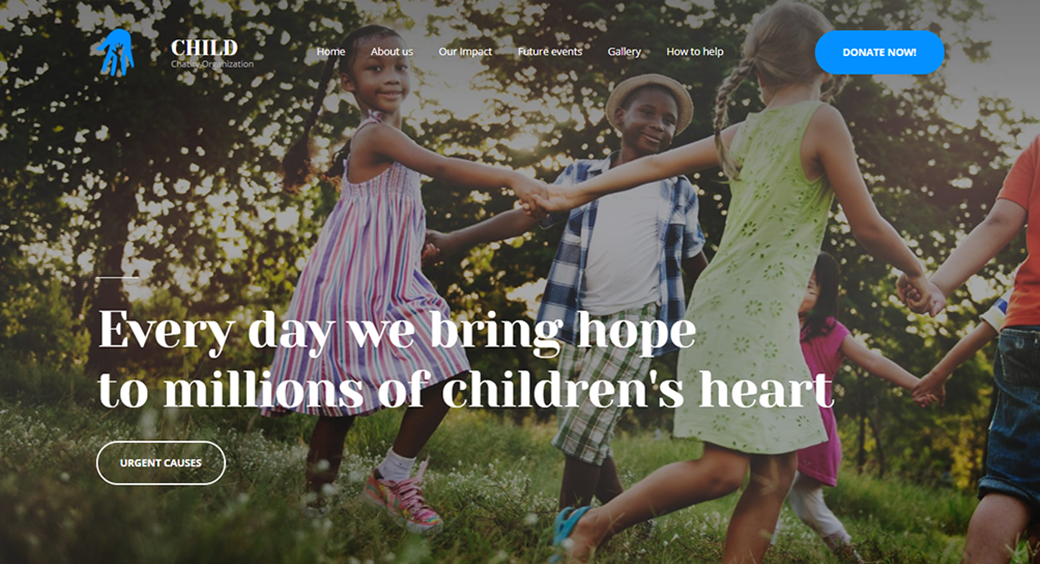 child charity organization website template