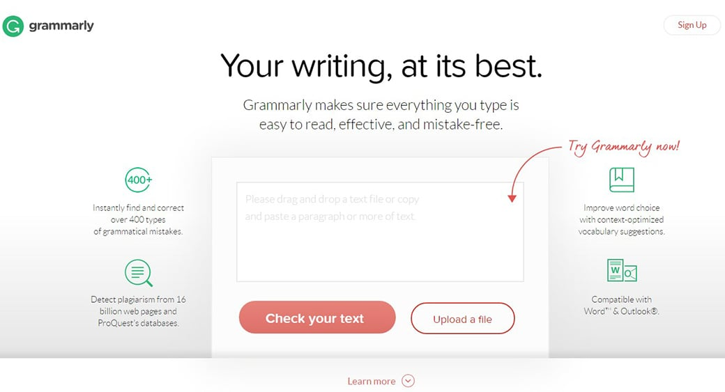 grammarly free content marketing tool