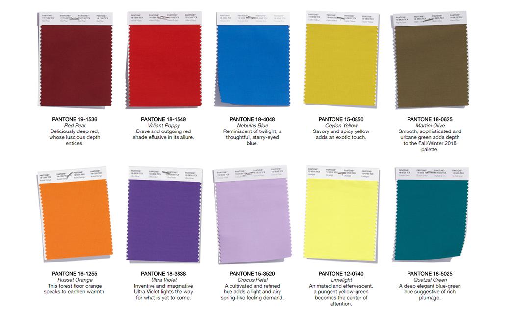 Web design color trends Pantone