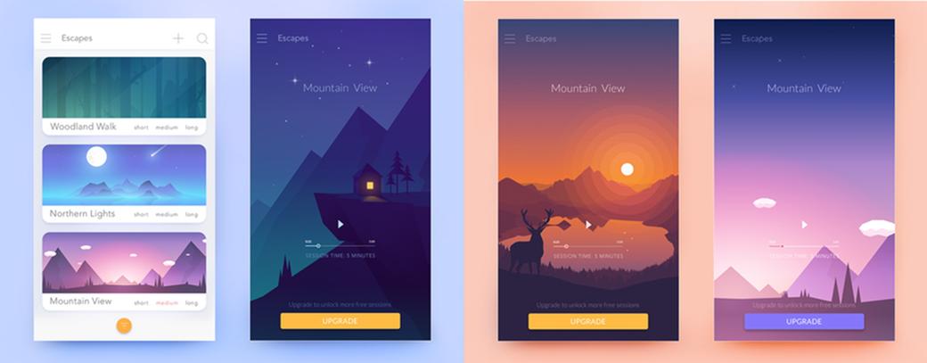 web design color trends 2018 - colorful gradients