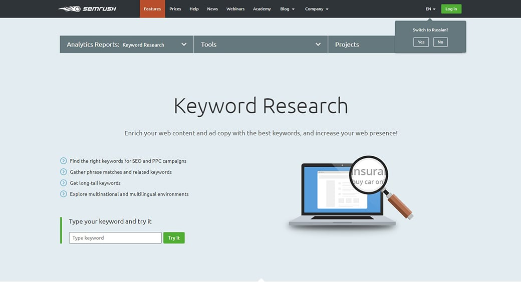 best free keyword research tools semrush image