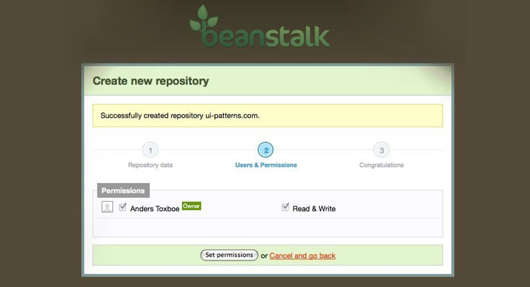 beanstalk progress step UI design patterns image