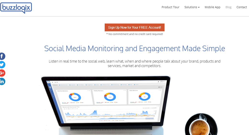 best social media analytics tools - Buzzlogix image