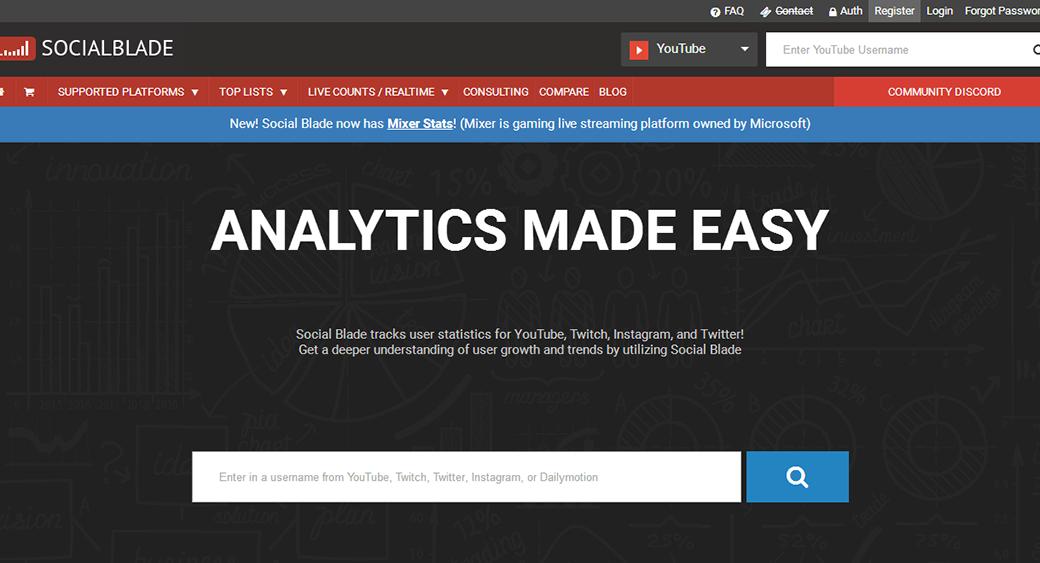 social media competitor analysis tool SocialBlade