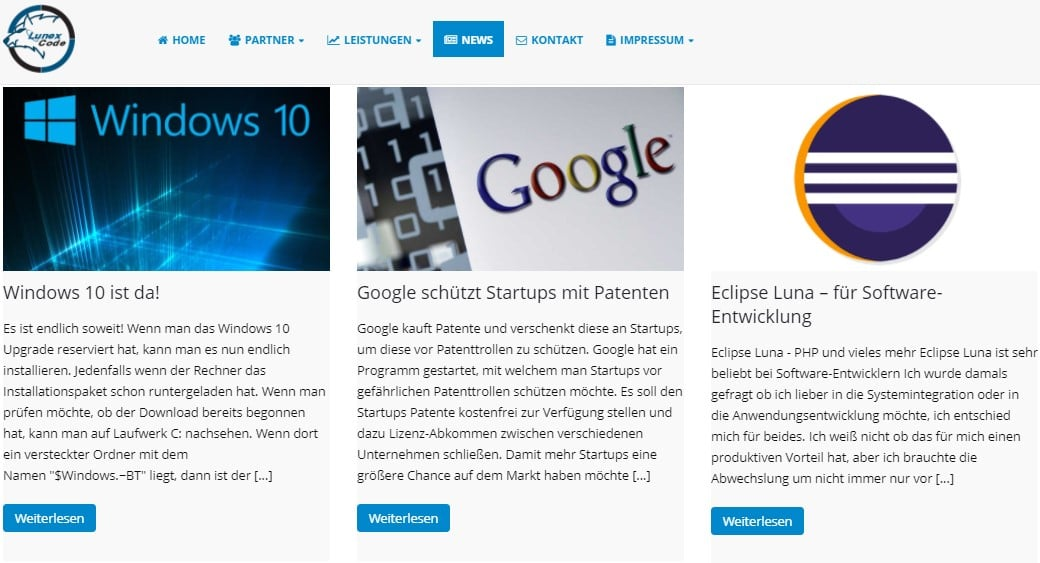 Web Nachrichten Lunexcode