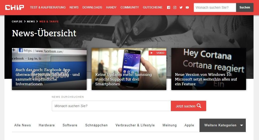 Web Nachrichten CHIP