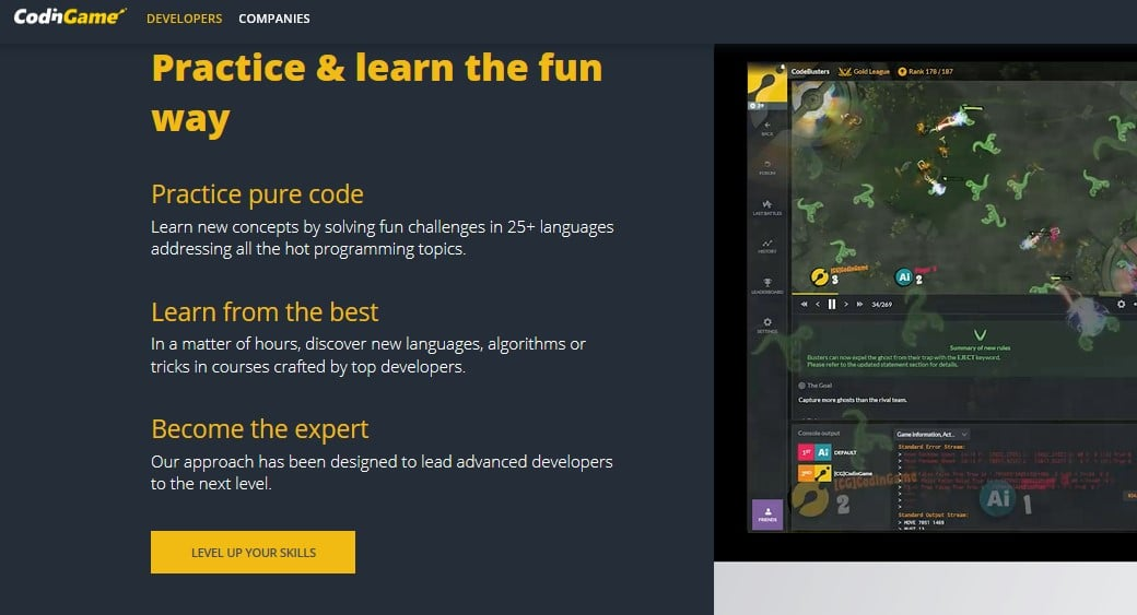Webprogrammierung lernen CodnGame