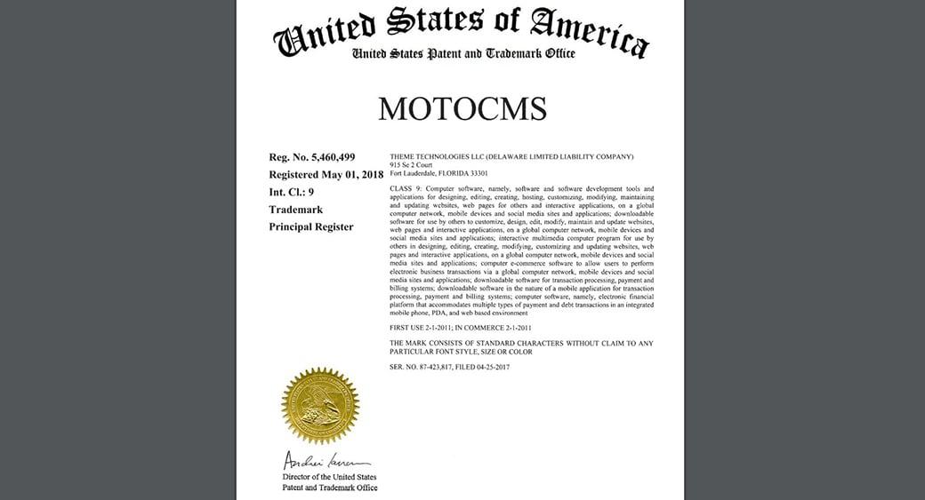 MotoCMS Trademark certificate image