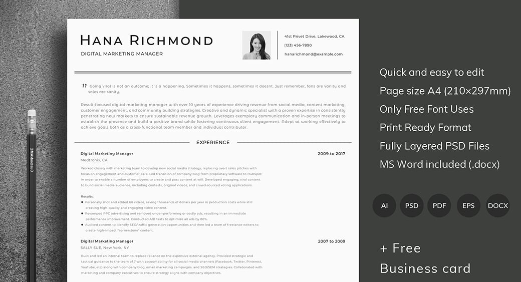 ats friendly resume template for digital marketing specialist