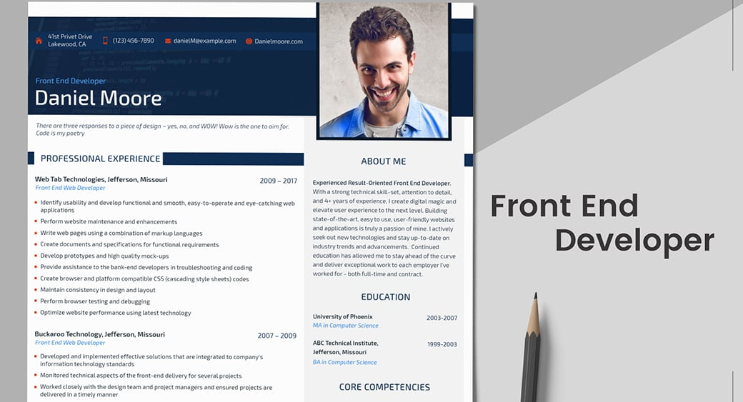ats friendly resume template for web developer
