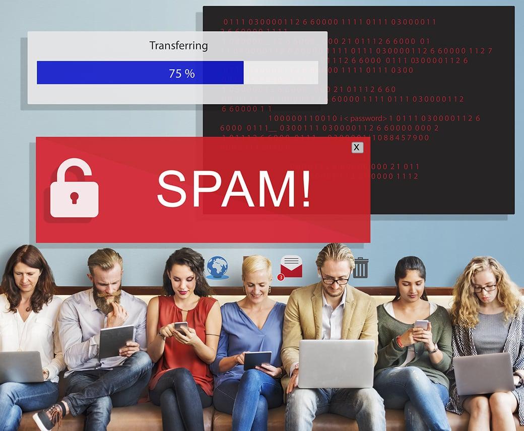 dark UI design spam image