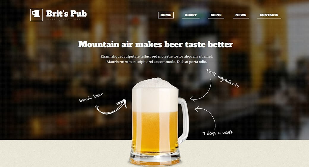 British pub web design