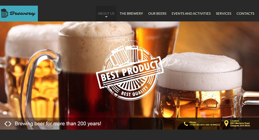 beer products web design